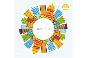 Charleston City Skyline with Color