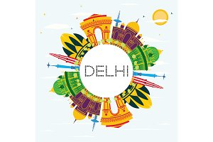 Delhi India Skyline with Color