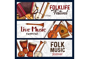 Folk music festival instruments
