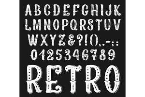 Vector vintage retro font letters