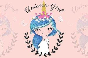 Unicorn girl print.Cartoon character
