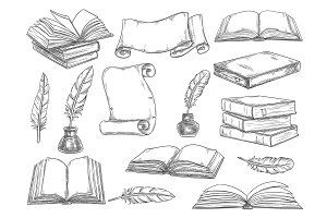 Books and literature quills sketch