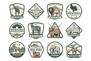 Hunting club icons with animals