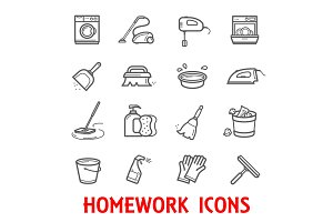 Homework and household icons