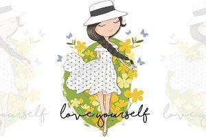Cute Spring Girl.Vector illustration