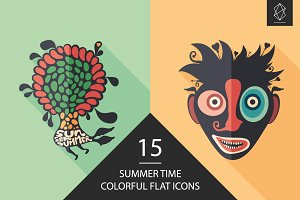 Summer time flat icon set