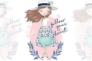 Romantic Girl. Vector illustration