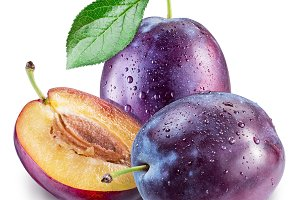 Plums with water drops. File contain
