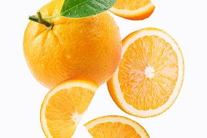 Falling orange and orange slices
