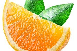 Segment of orange fruit with leaves.