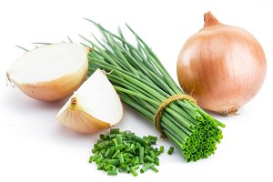 Green onions and bulb onion isolated