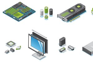 Isometric Computer Hardware Parts