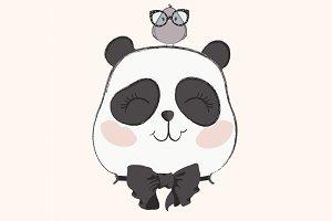 Cute panda and bird vector.Baby