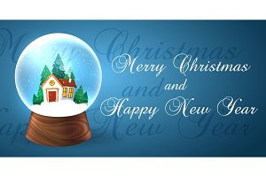 Snowglobe banner for xmas holiday