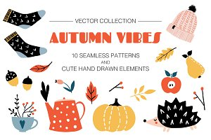 AUTUMN VIBES patterns and elements