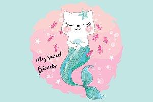 Cute cat mermaid vector.Cat girl.