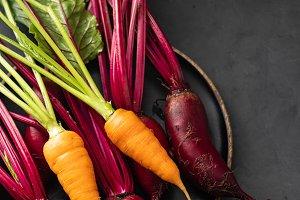 Fresh vegetables carrots, beetroots
