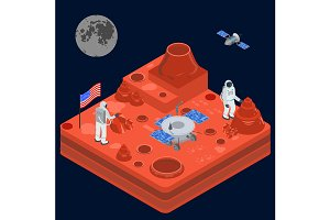 Space Discovery Concept 3d Isometric