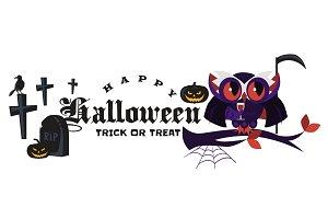 Cartoon Halloween logo dracula owl