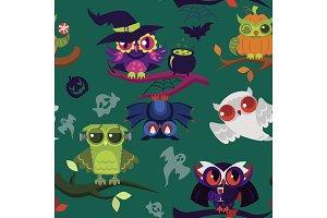 Halloween owls endless texture