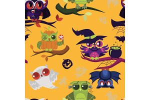All Hallows Eve owls pattern