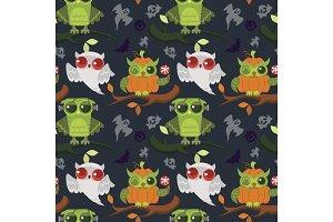 Halloween owls seamless pattern