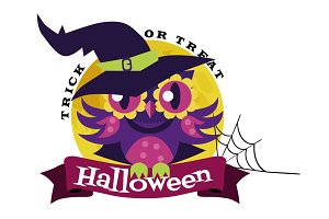 Logo owl in Halloween witch