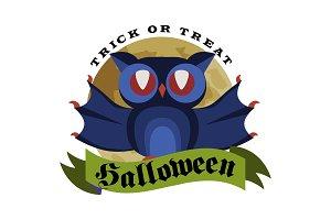 Funny cartoon logo Halloween owl