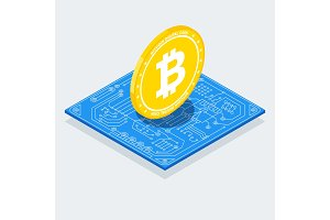 Isometric Bitcoin sign with computer