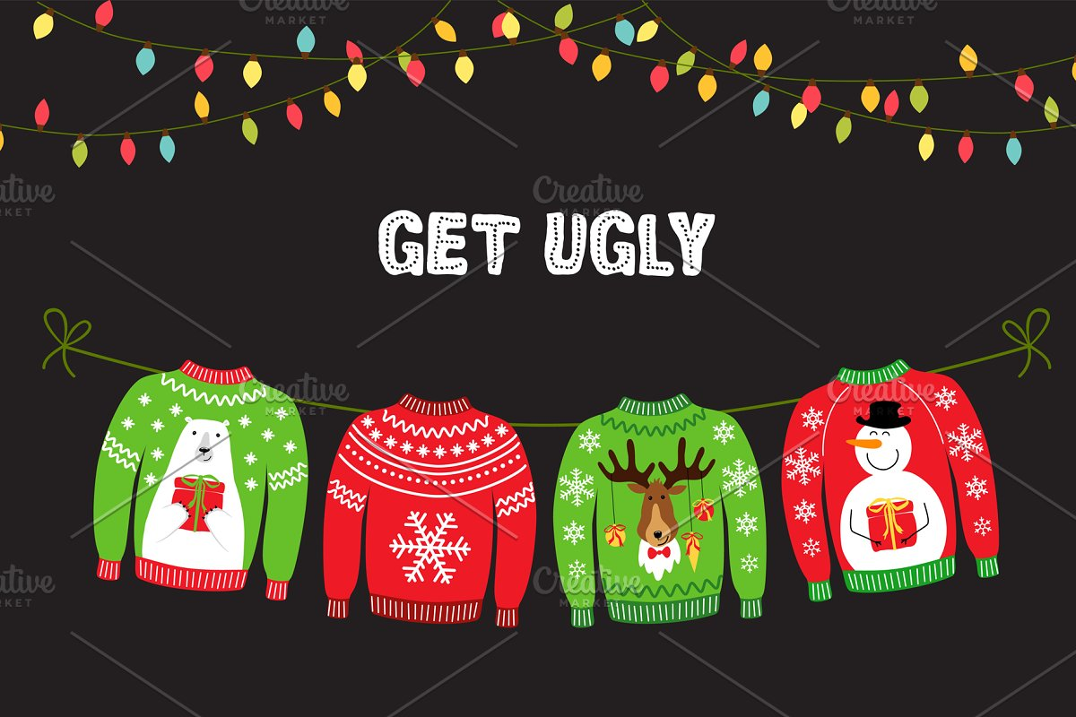 Cute Christmas Party.Ugly Sweater Christmas Party