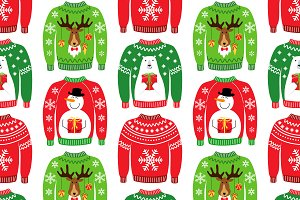Seamless pattern of Ugly Sweaters
