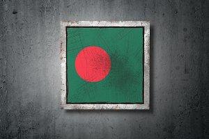 Bangladesh flag in concrete wall