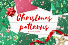 Vector christmas patterns set
