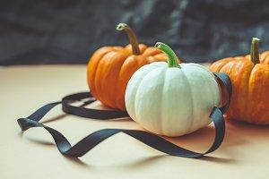 Autumn orange and white pumpkins wit