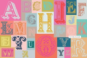 Antique Ornaments Alphabet Font