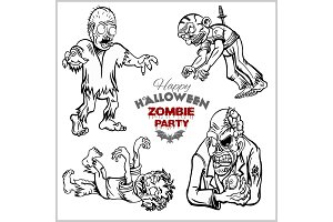 Cartoon zombie set isolated on white