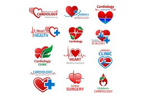 Cardiology medicine clinic icons