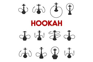 Hookah or shisha smoking icons