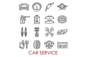 Car service and auto repair icons