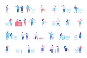 People shopping flat vector set.