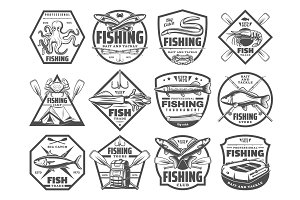 Fish and seafood fishing club icons