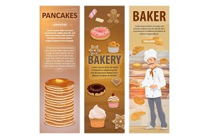 Bakery bread, desserts and baker