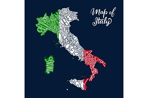Italy regions map in lettering