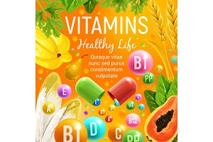 Vegetables, fruits healthy vitamins