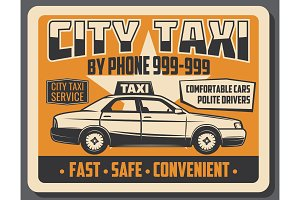 City taxi public transport poster