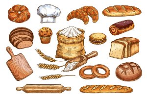 Bakery bread and pastry sketch