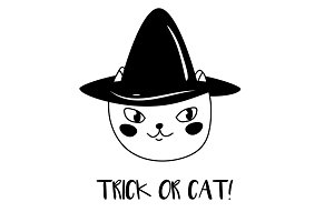 Trick or treat funny Halloween cat