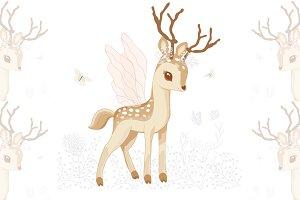 Pretty deer print.Cute bambi vector.