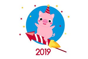 2019 New Year cartoon pig