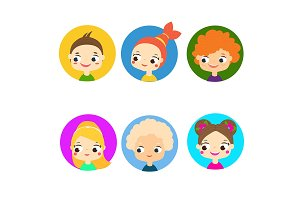 Colorful kids faces Children avatars